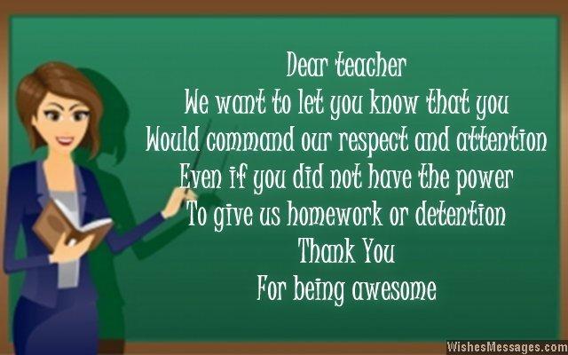 Teachers Card Messages Thank You