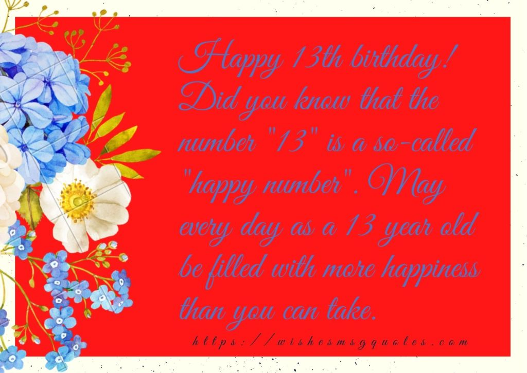 Happy Birthday Quotes For 13 Years Old Boy And Girl