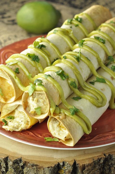 Crock Pot Salsa Verde Chicken Taquitos {Wishes & Dishes}
