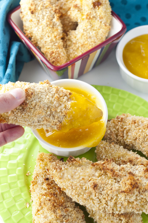 Almond Coconut Crusted Chicken Tenders with Mango Honey Dipping Sauce {Wishes & Dishes}