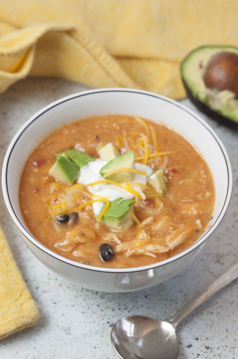 20 Minute Cheesy Chicken Enchilada Soup {Wishes & Dishes}