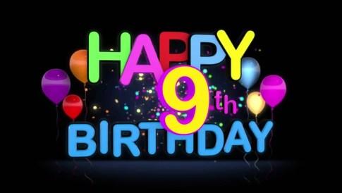 Happy 9th Birthday Wishes
