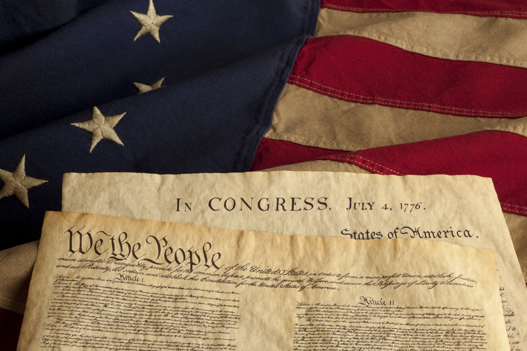 Constitution And Declaration Of Independence On Flag