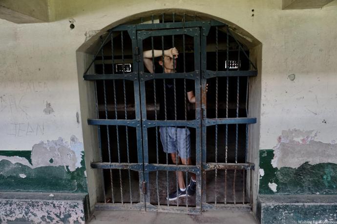 Posing in a prison cell Liberia Costa Rica