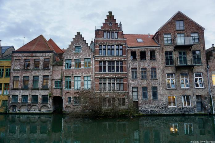 Buildings next to a canal in Belgium