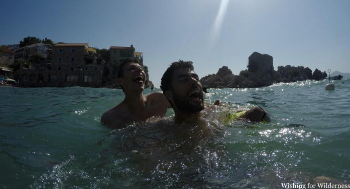 Laughing in the sea