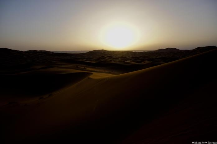 Sunrise in the sand dunes Morocco