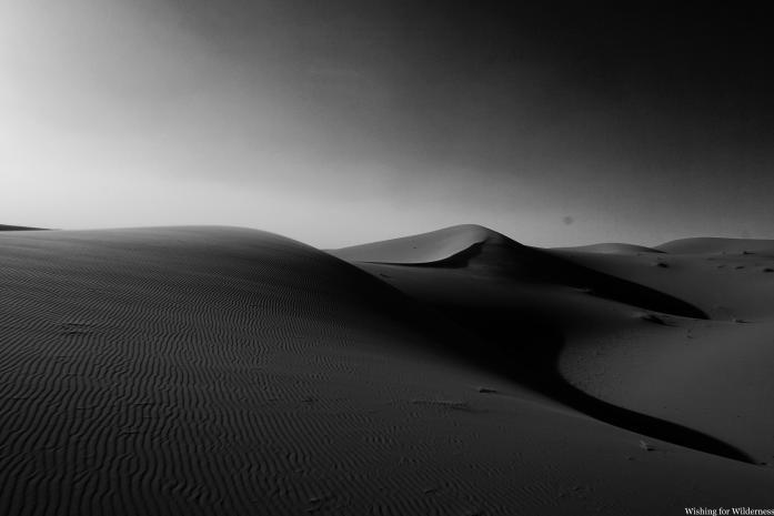 Black and white sand dune