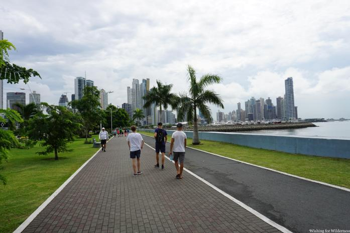 Walking along the seafront in Panama City