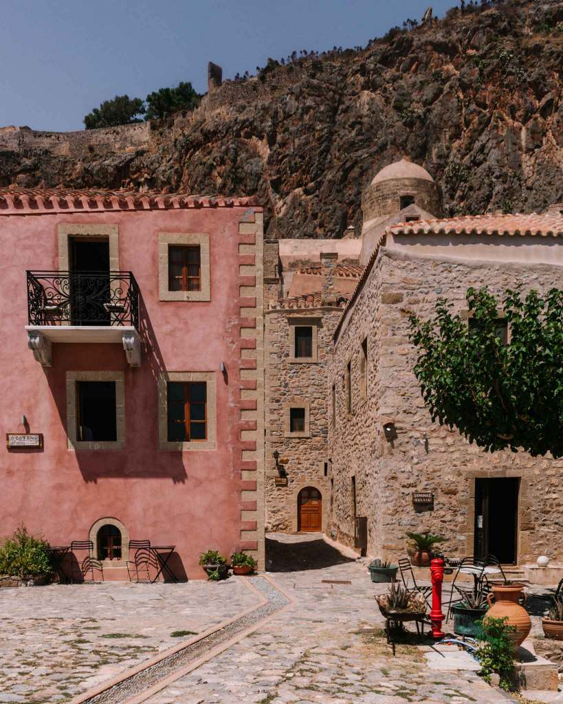 Pink building in Monemvasia Peloponnese