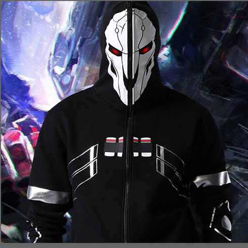 2016 New Blizzard Overwatch Reaper Cosplay Hoodies OW Game Hero Black Zip Up Full Face Cosplay