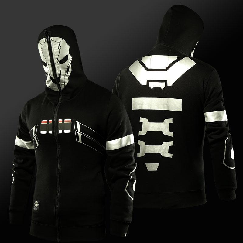 Overwatch Reaper Cosplay Hoodies Mens Full Face Zip Up OW