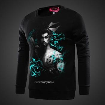 Blizzard Overwatch Hanzo Hoodies Blue Zip Up Sweatshirts