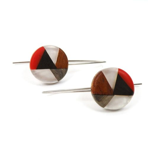 Ohrringe Harz Perlmutt Holz Rot