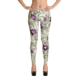 Purple & Green | Floral Leggings