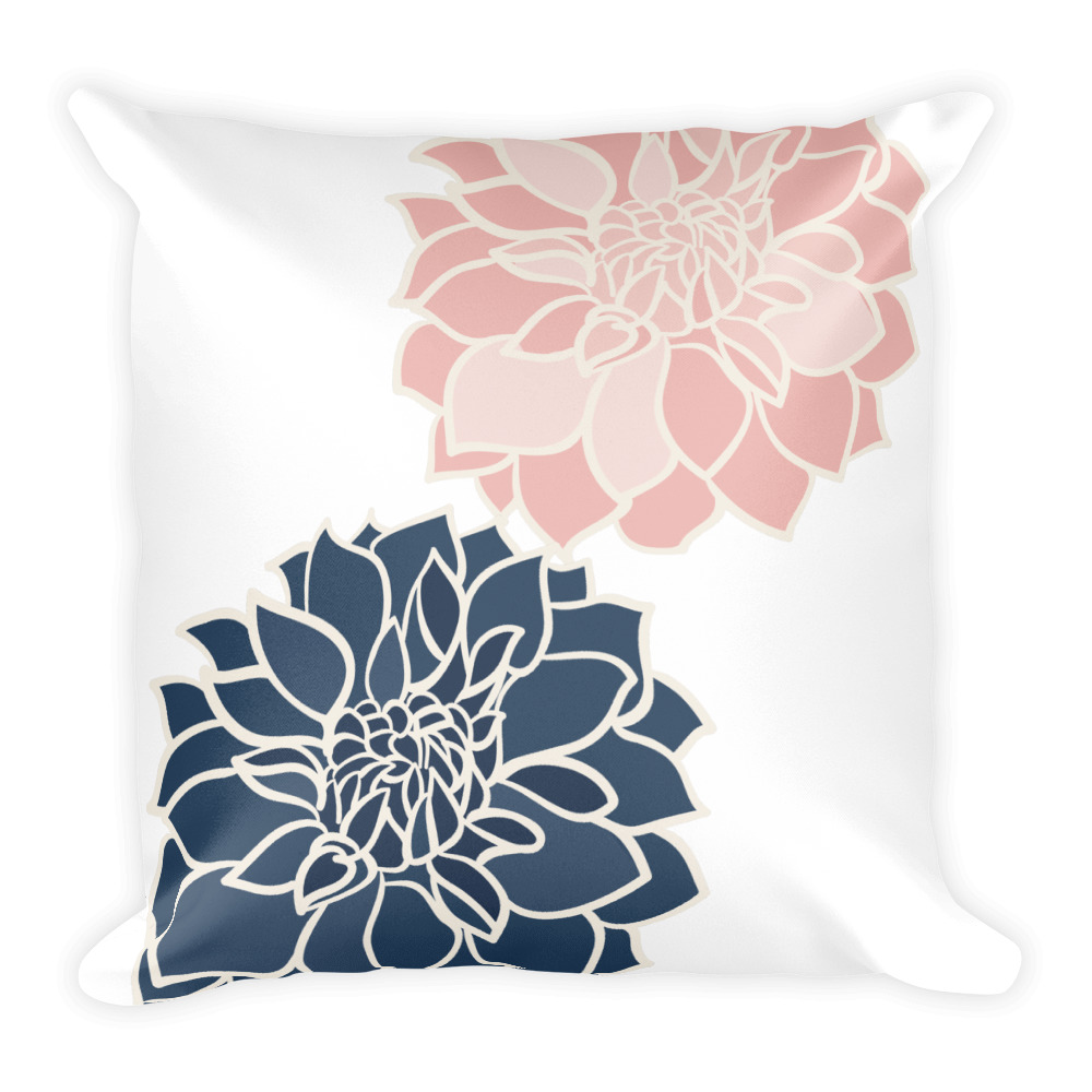 Blue And Pink Flower Square Pillow Wish Pickle Hipster Clothing
