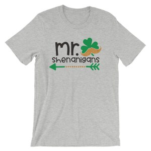 Mr. Shenanigans shirt with shamrock and mustache