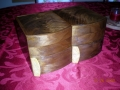 Closed box showing the bookmatched walnut on top
