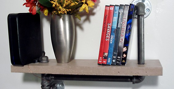 DVD and Flower Concrete Shelf