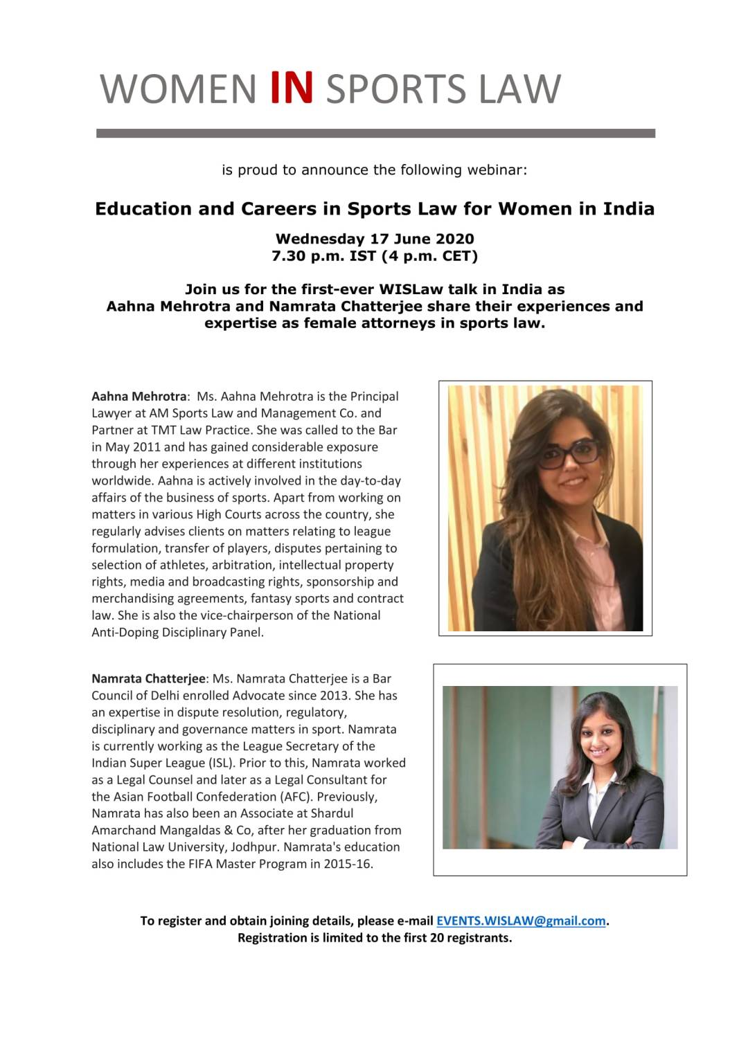 Education and Careers in Sports Law for Women in India - 17 June 2020