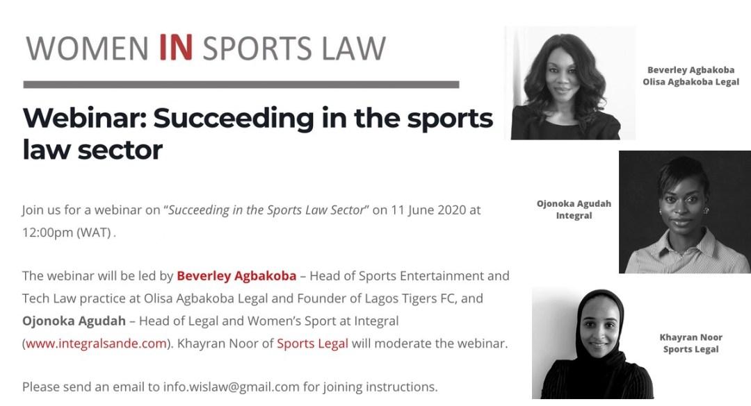 Webinar on Succeeding in the sport law sector - 11 June 2020
