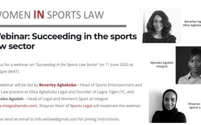 Webinar on Succeeding in the Sport Law Sector, 11 June 2020