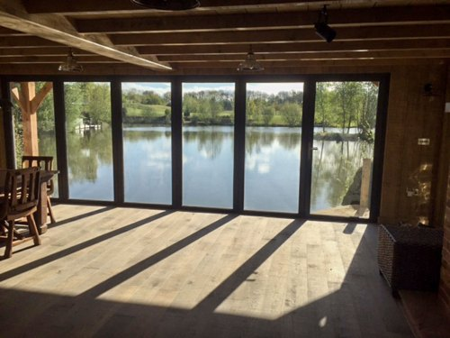 Looking onto the lake from the kitchen area
