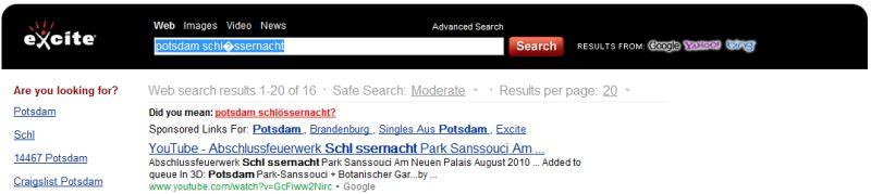 Suchergebnisse von excite.com
