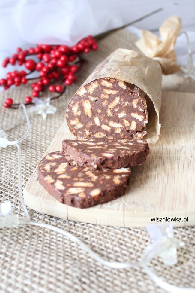 ciasta na boże narodzenie - czekoladowe salami