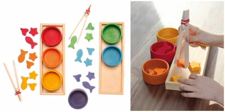Zestaw drewnianych miseczek i kształtów do sortowania, Grimm's