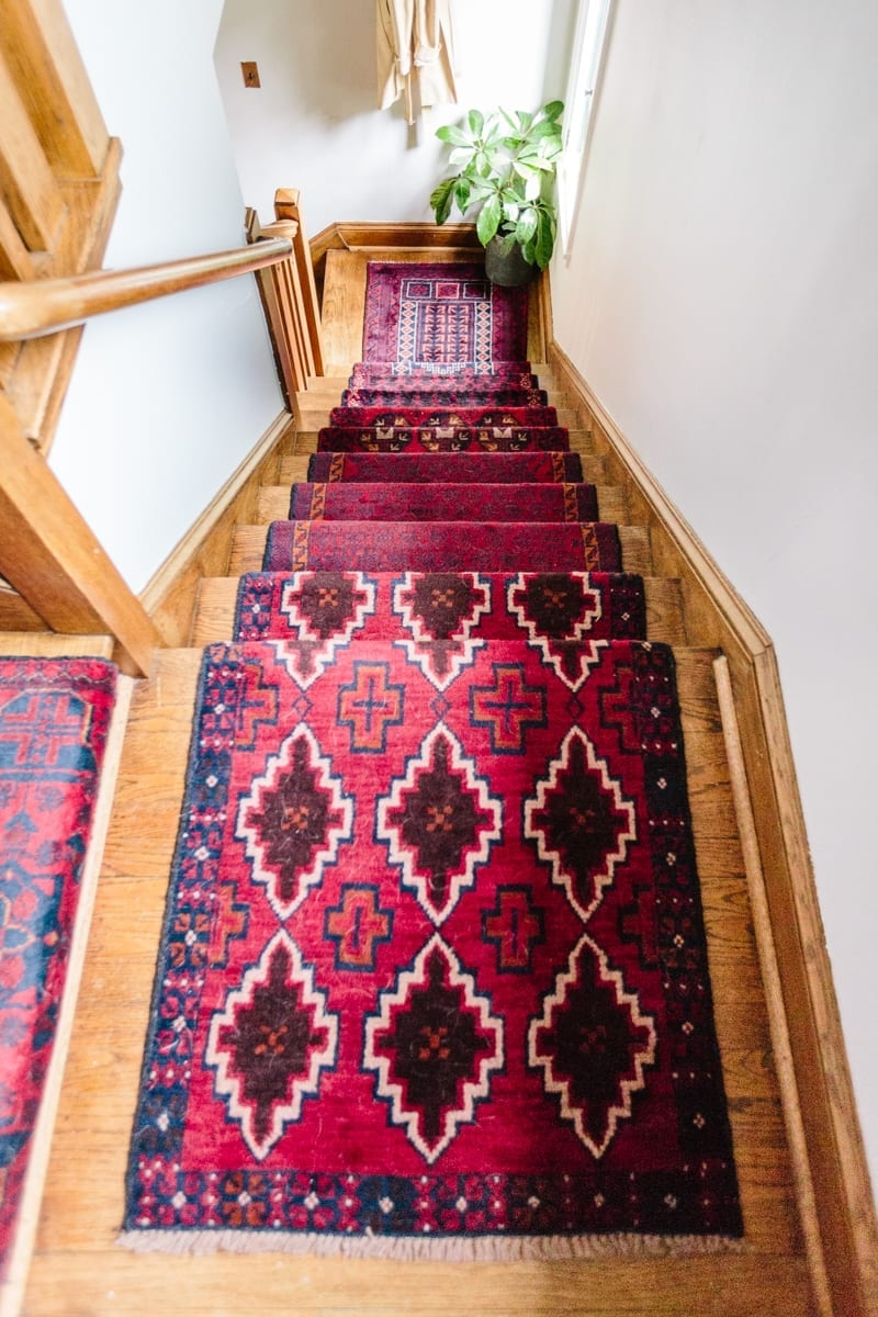 Mix Matched Patterns Diy Stair Runner Made With Vintage Rugs | Cost Of Carpet For Stairs And Landing | Sisal Stair Runner | Handrail | Wood | Carpet Runner | Hardwood
