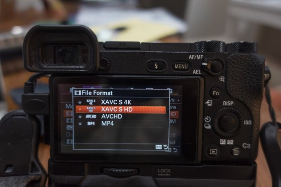 File format selection menu - how to shoot slow motion with sony a6500 - witandfolly.co