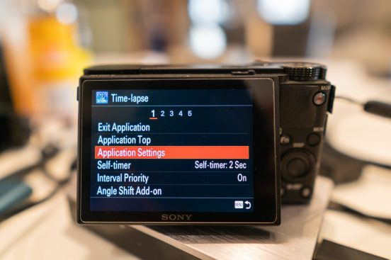 Sony PlayMemories Time Lapse Settings Menu Tab 1