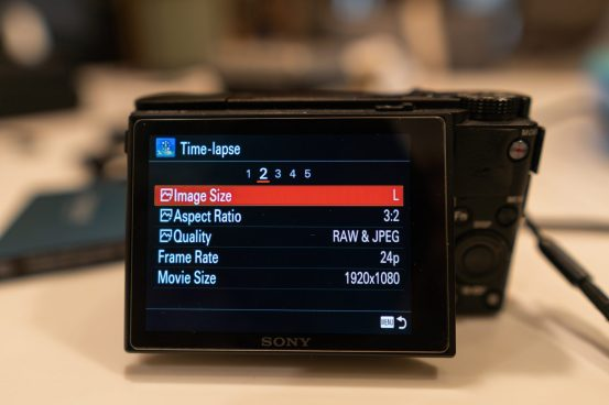 Sony PlayMemories Time Lapse Settings Menu Tab 2