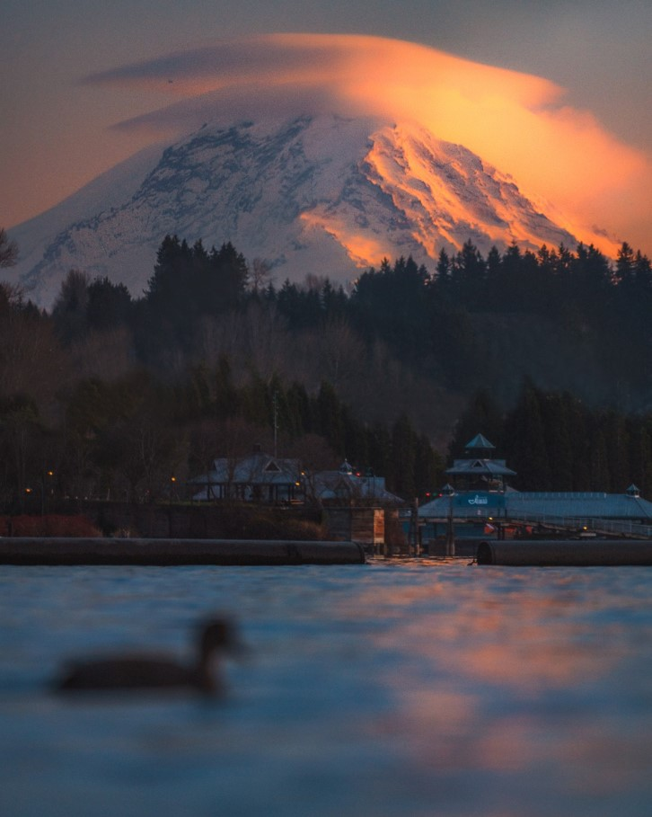 View of Mount Ranier and duck from Gene Coulon Memorial Beach Park