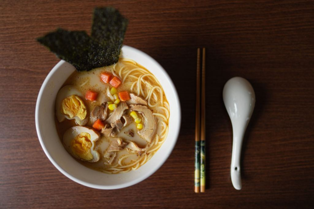 picture of ramen on a table