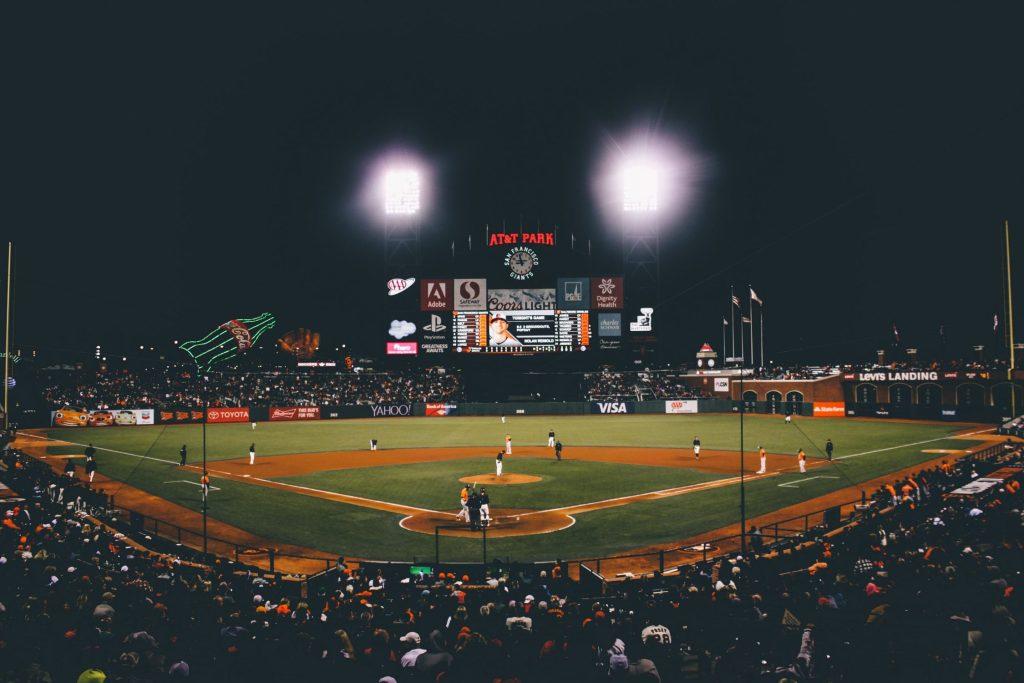 image of baseball field at night
