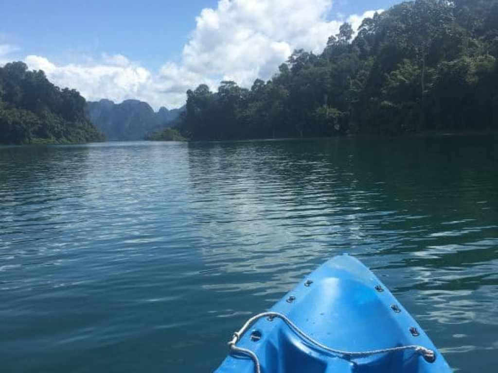 Kayaking on Cheow Lan Lake at Phupa Waree Floating Bungalows in Khao Sok.