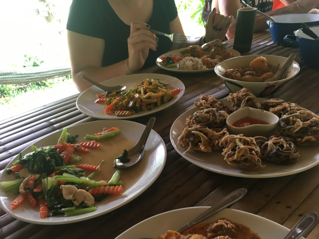 Delicious and authentic Thai food at Khao Sok farm in jungle
