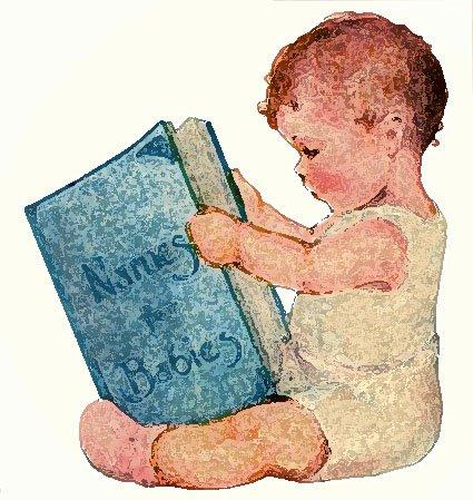 Image of a baby reading a book