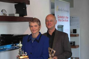 Paul & Joy Quilter showing off their hard-won trophies.