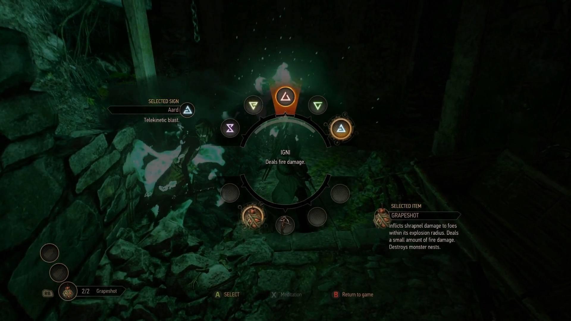 witcher 3 wild hunt combat UI signs and spells