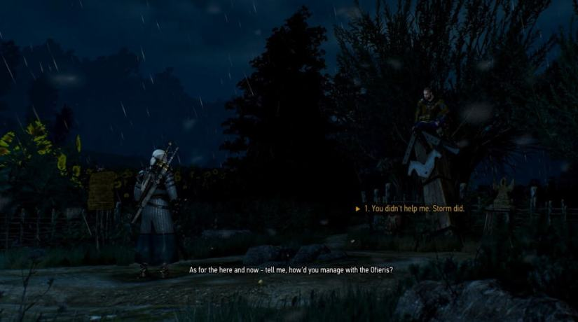 Geralt meeting Gaunter O'Dimm at a crossroads to seal their deal