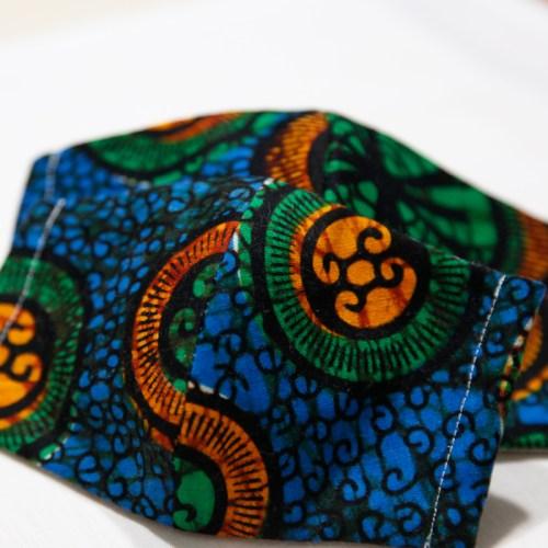 🤝完売🤝【夏 リネンマスク】アフリカンプリントマスク 親子ペア #11-1 アースカラーで大人の遊び心を
