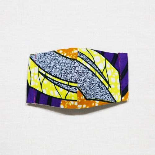 🤝完売🤝【夏 リネンマスク】アフリカンプリントマスク #13-10 対角に入った紫が引き締める効果を