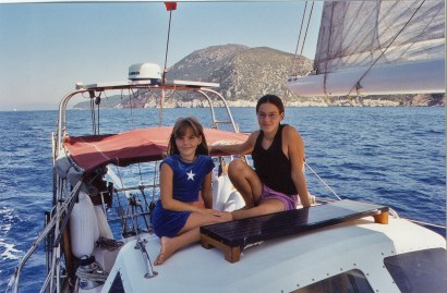 "Jess & I hanging out on the dodger with the ""toe"" of Italy in the background"