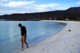 Walking the beach at Isla Coronados (a small island we anchored at earlier this week)