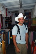 """Jon finally got the hat that he's been coveting since we first arrived in Mexico. He's been calling me """"little lady"""" ever since :)"""