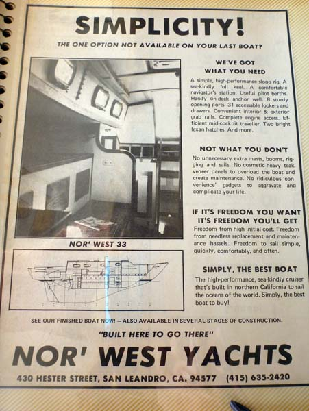 Nor'West 33 sailboat - early ad