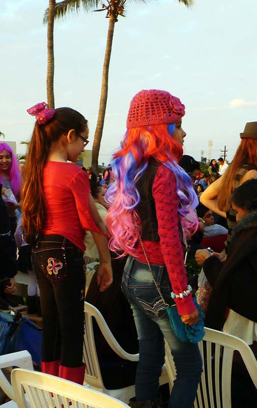 The pink wigs of Carnaval in Mazatlan Mexico